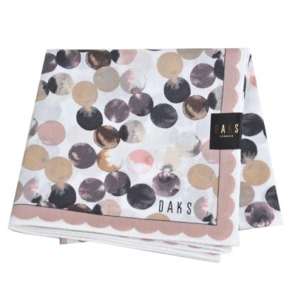 DAKS 經典品牌字母LOGO圓圈圖騰大帕領巾(粉紅邊)