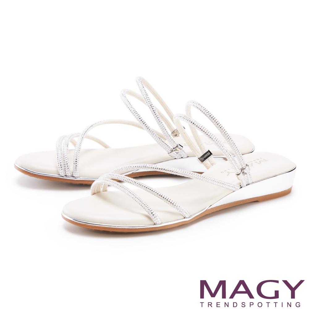 MAGY 細緻鑽條2穿低跟 女 涼拖鞋 米色