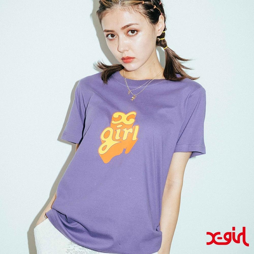 X-girl POP OUT LOGO S/S REGULAR TEE短袖T恤-紫