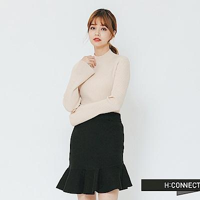 H:CONNECT 韓國品牌 女裝-小寬袖立領坑條上衣-卡其