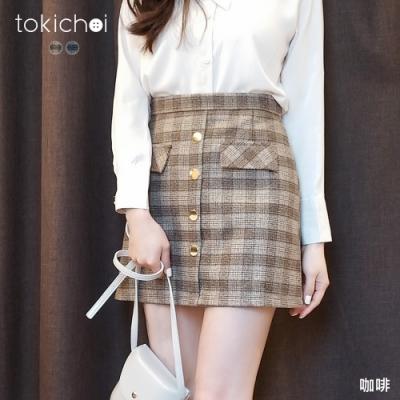 東京著衣 華麗復古格紋排釦A字短裙-M.L(共二色)