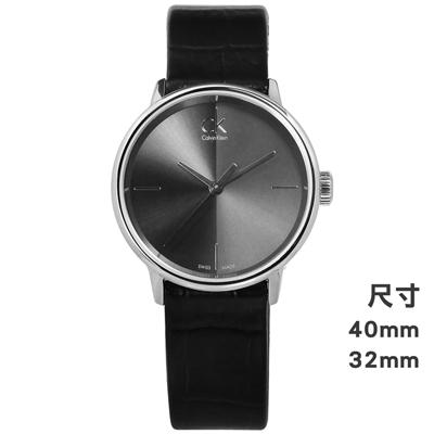 CK Accent 極簡約壓紋皮革手錶-灰x黑/32mm