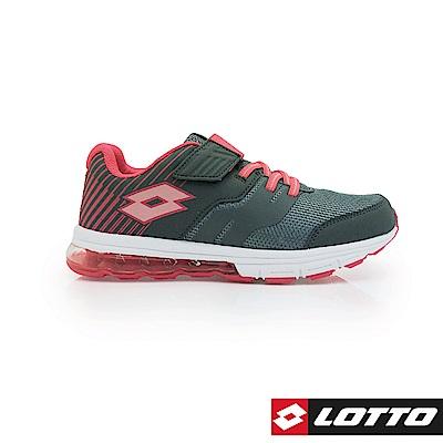 LOTTO 義大利 童 STRETCH 氣墊跑鞋 (灰/桃)