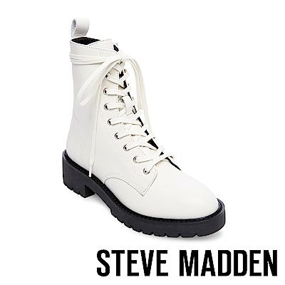 STEVE MADDEN-GRID經典戰鬥綁帶短筒靴-白色