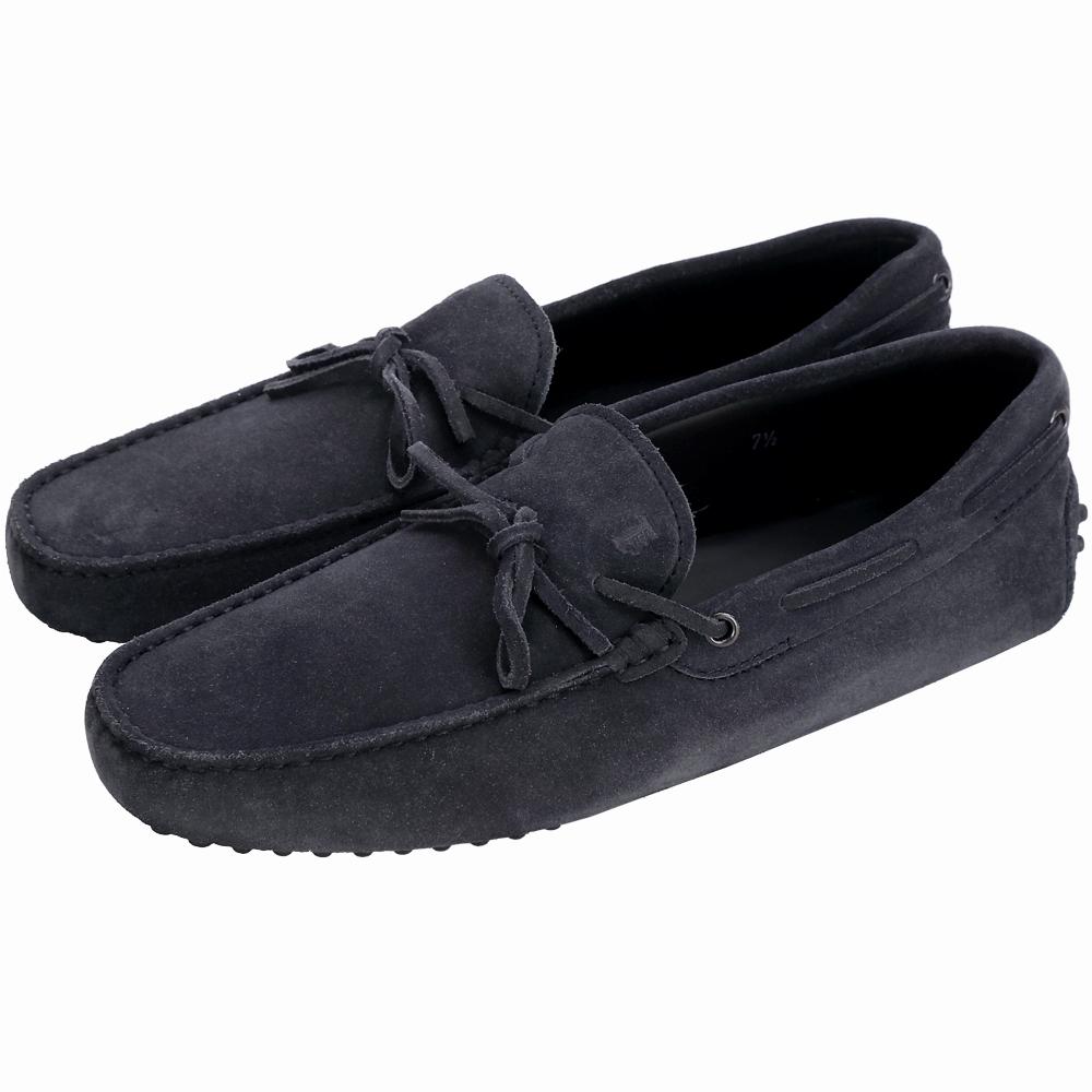 TOD'S Gommino 麂皮綁帶休閒豆豆鞋(男鞋/夜藍色)