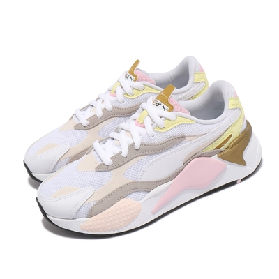 Puma 休閒鞋 RS-X3 Puzzle V2 女鞋 海外限定 老爹鞋 粉嫩配色 穿搭推薦 白 粉 38282101