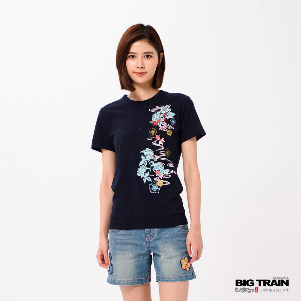 BIG TRAIN 花影金魚短袖女款-女-深藍