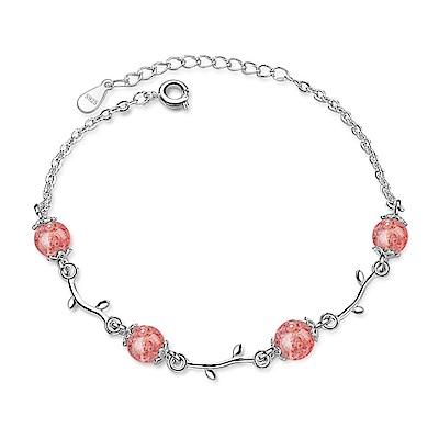 Angel 莓果泡泡粉晶珠雪白銀手鍊