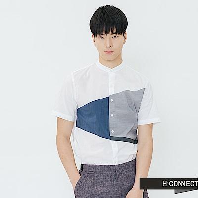 H:CONNECT 韓國品牌 男裝-撞色色塊短袖襯衫-白