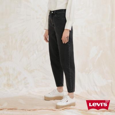 Levis 女款 上寬下窄 High Loose 復古超高腰牛仔寬褲 黑色基本款 天絲棉 形象款