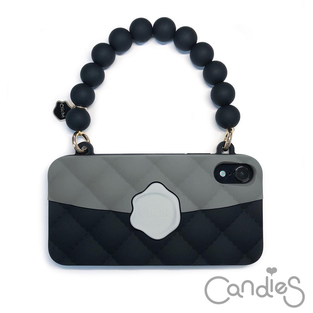 Candies 經典雙色珠鍊晚宴包(黑)-IPhone Xs Max 6.5吋適用
