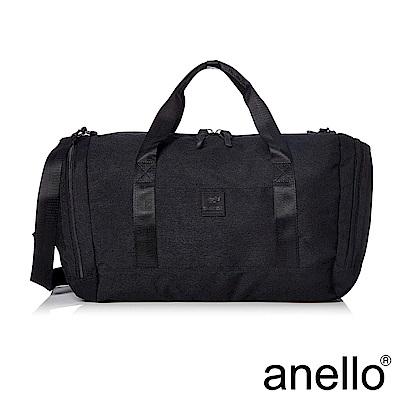 anello 高雅混色紋理手提斜背兩用旅行袋 黑色