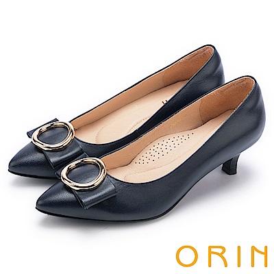 ORIN 時尚魅力 圓型飾扣優雅中跟鞋-藍色