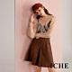 ICHE 衣哲 英式條紋印花打摺開叉造型圓裙-焦糖咖啡 product thumbnail 1