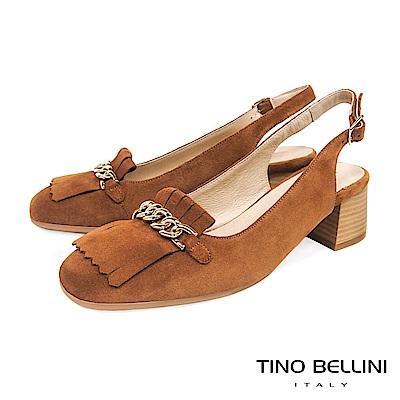 Tino Bellini 西班牙進口流蘇繫鍊小方頭樂福跟鞋 _ 棕
