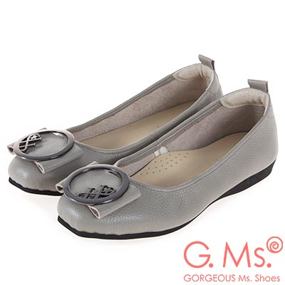 G.Ms. MIT系列-牛皮大圓飾釦方頭娃娃鞋-灰色