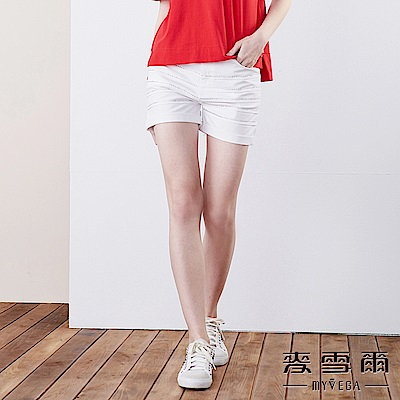 【麥雪爾】棉質閃亮排鑽反褶短褲