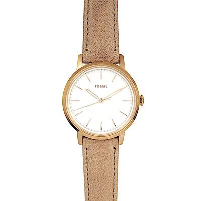 FOSSIL 美國精品手錶 NEELY白錶盤x玫瑰金錶框 淺棕色皮革錶帶34mm
