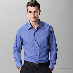 ROBERTA諾貝達 台灣製 合身版 變化領口商務長袖襯衫 藍色