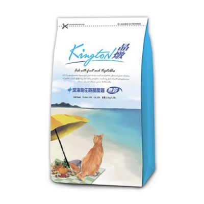 Kingston晶燉無穀貓-34%Protein深海魚佐食蔬嫩雞1.5KG 兩包組
