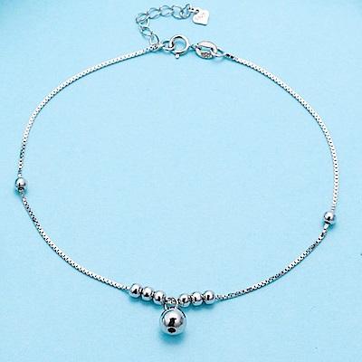 米蘭精品 925純銀腳鍊-簡約圓珠盒子鍊