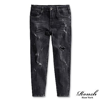Roush 刷白破壞經典重磅黑色牛仔褲