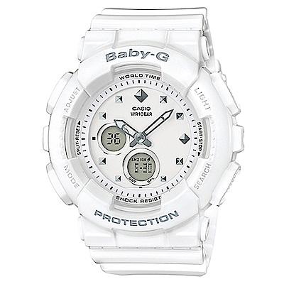 BABY-G 搖滾金屬鉚釘風隨性概念休閒運動錶(BA- 125 - 7 A)白 43 . 4 mm