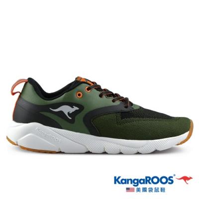 KangaROOS 美國袋鼠鞋 男 RUN SPRINT 超輕量跑鞋/慢跑鞋/休閒鞋/運動鞋(軍綠-KM11005)