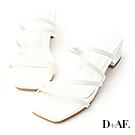 D+AF 仲夏個性.多細帶方頭低跟涼拖鞋*白