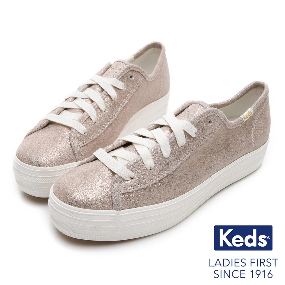 Keds TRIPLE KICK 麂皮霧感綁帶厚底休閒鞋-香檳金