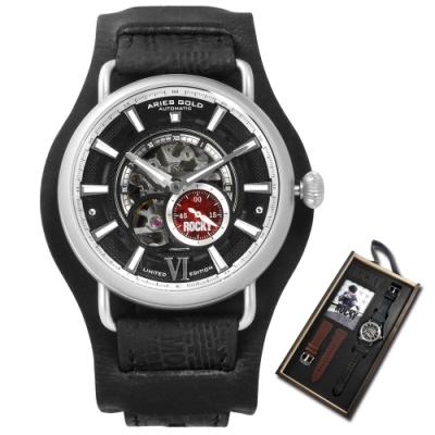 ARIES GOLD 拳擊手 ROCKY 聯名限量款 真皮機械錶 錶帶禮盒組-黑/44mm