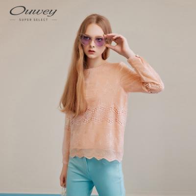 OUWEY歐薇 縷空蕾絲刺繡雪紡上衣(桔)
