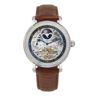 PARKER PHILIP派克菲利浦雙發條盒日月相兩地時區晶鑽鏤空擺輪限量機械腕錶(銀殻/咖帶)