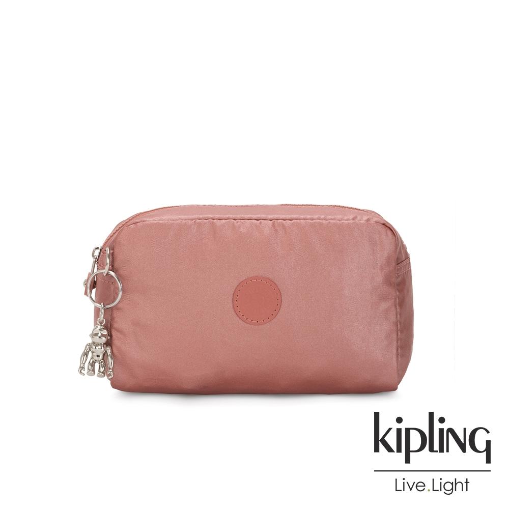 Kipling 甜美俏皮蜜桃粉長形化妝包-GLEAM