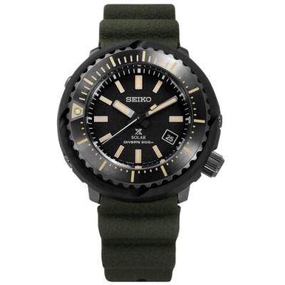 SEIKO 精工 PROSPEX 太陽能 潛水錶 矽膠手錶-黑x深灰框x墨綠/47mm