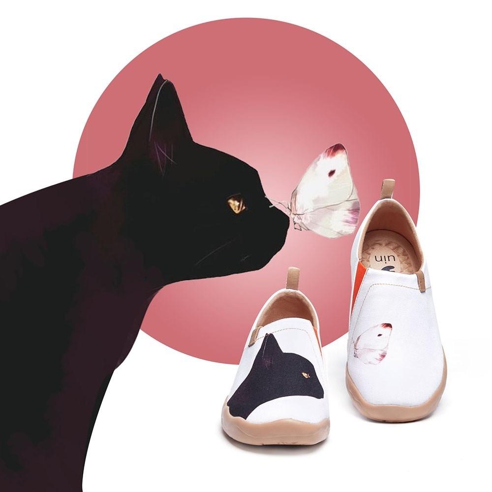 【Uin】西班牙原創設計-貓和蝶彩繪休閒女鞋W1109548