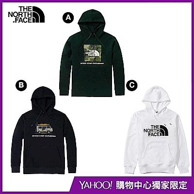 【The North Face】YAHOO 限時優惠-北面經典熱銷男女款大學帽T(3款任選)