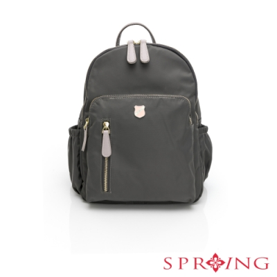 SPRING-經典質感系列防盜尼龍後背包-質感灰