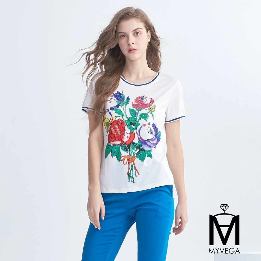麥雪爾 MA鑽飾跳色玫瑰造型上衣