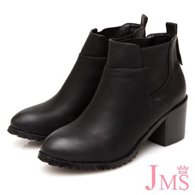 JMS-經典素面拼接鬆緊帶粗跟短靴-黑色