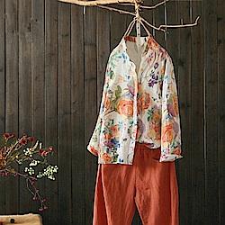 花香休閒印花亞麻襯衫棉麻上衣-Y4547-設計所在