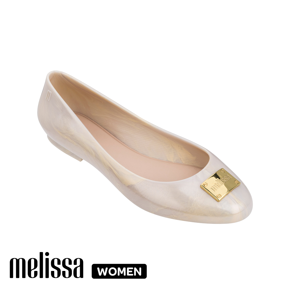 Melissa 品牌金屬扣娃娃鞋-白