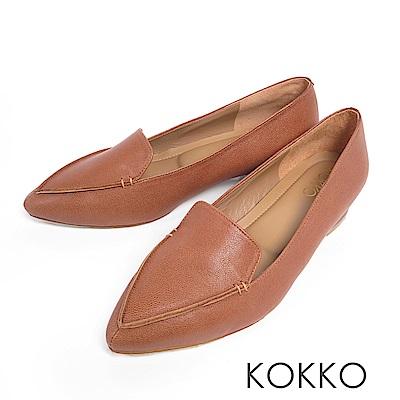 KOKKO -美好時光尖頭手工羊皮樂福平底鞋-大地棕