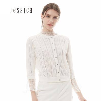 JESSICA - 白色立體花編織薄針織外套