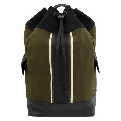 BOTTEGA VENETA 彩色條紋帆布水桶後背包(深綠)