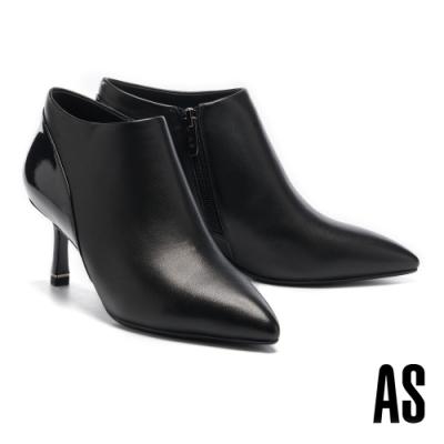 踝靴 AS 優雅格調異材質拼接全真皮尖頭高跟踝靴-黑