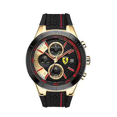 FERRARI Aerodinamico 競速賽車大鏡面計時三眼腕錶/FA0830298