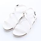 ZUCCA-素面交錯紋楔型涼鞋-白-z6619we