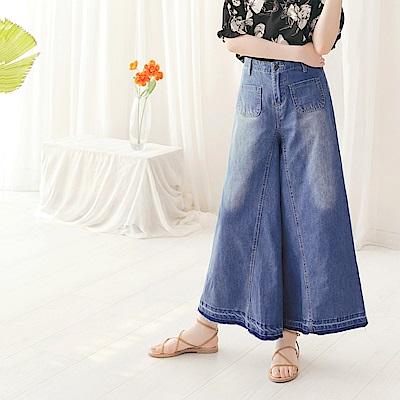 自然刷色雙口袋壓線造型牛仔寬褲-OB大尺碼
