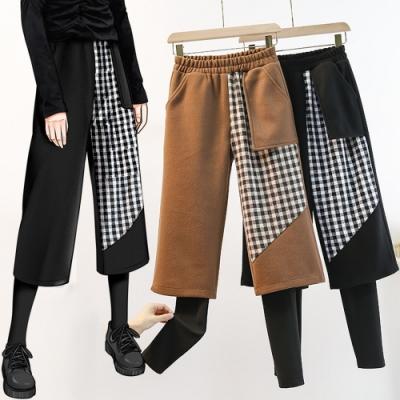加絨保暖假兩件格紋拼接呢料闊腿褲L-4XL(共二色)KVOLL